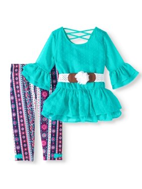 3c87d2988be59b Product Image Swiss Dot Belted Tunic and Capri Legging 2-Piece Set (Little  Girls   Big