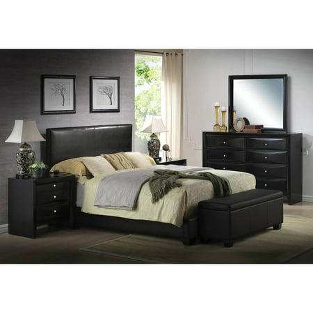 ACME Ireland Queen Panel Bed in Black Faux Leather, Multiple (Faux Leather Durability)