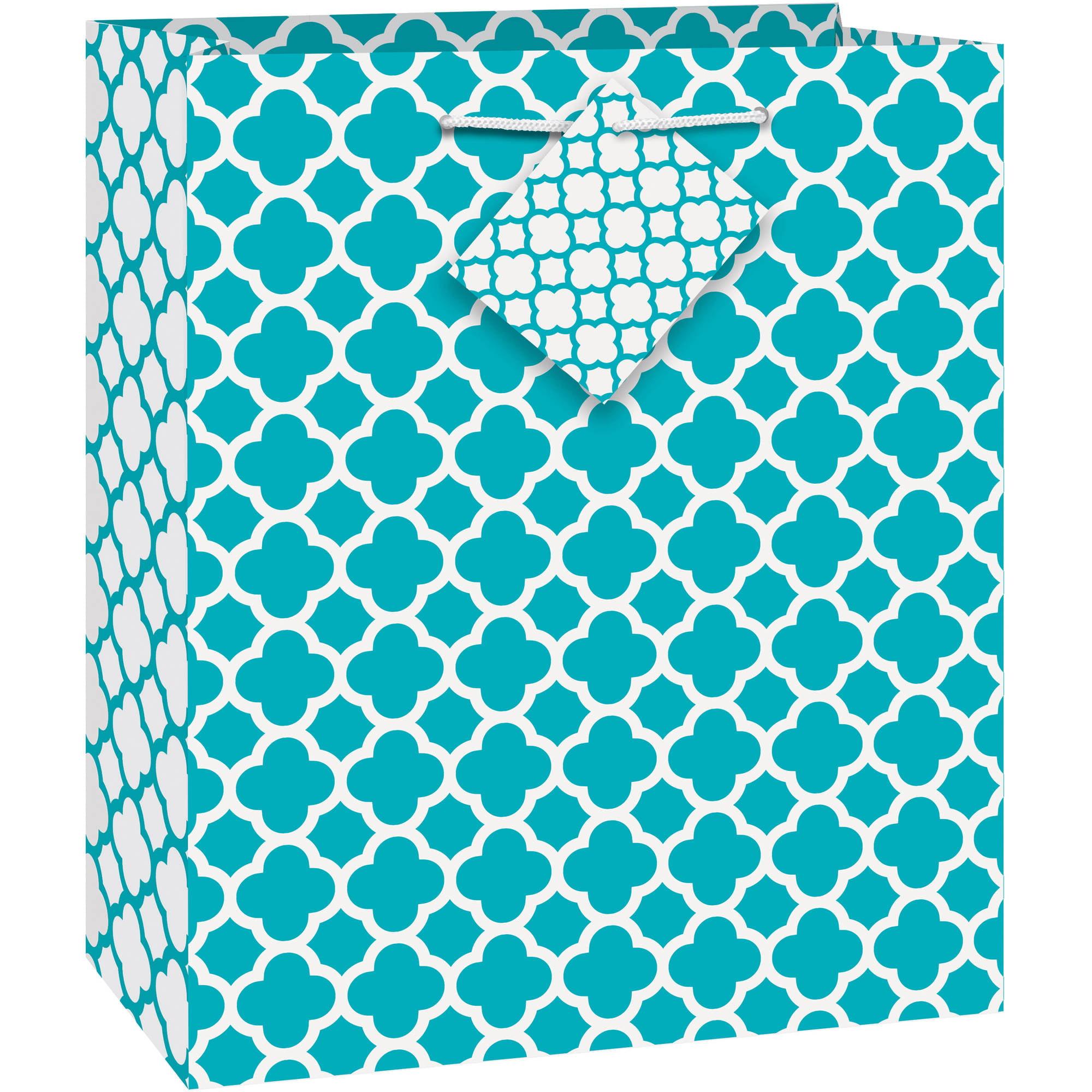 Teal Quatrefoil Gift Bag