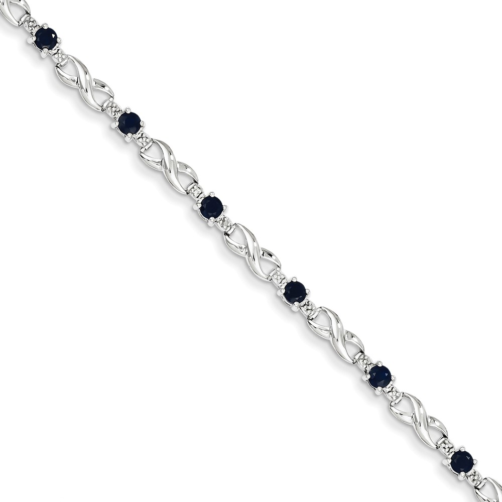 14K White Gold w  Diamond and Sapphire Gemstone Bracelet. Gem Wt- 1.71ct by Jewelrypot