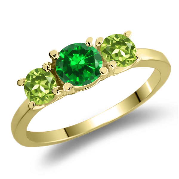 1.44 Ct Green Simulated Emerald Green Peridot 925 Yellow Gold Plated Silver Ring