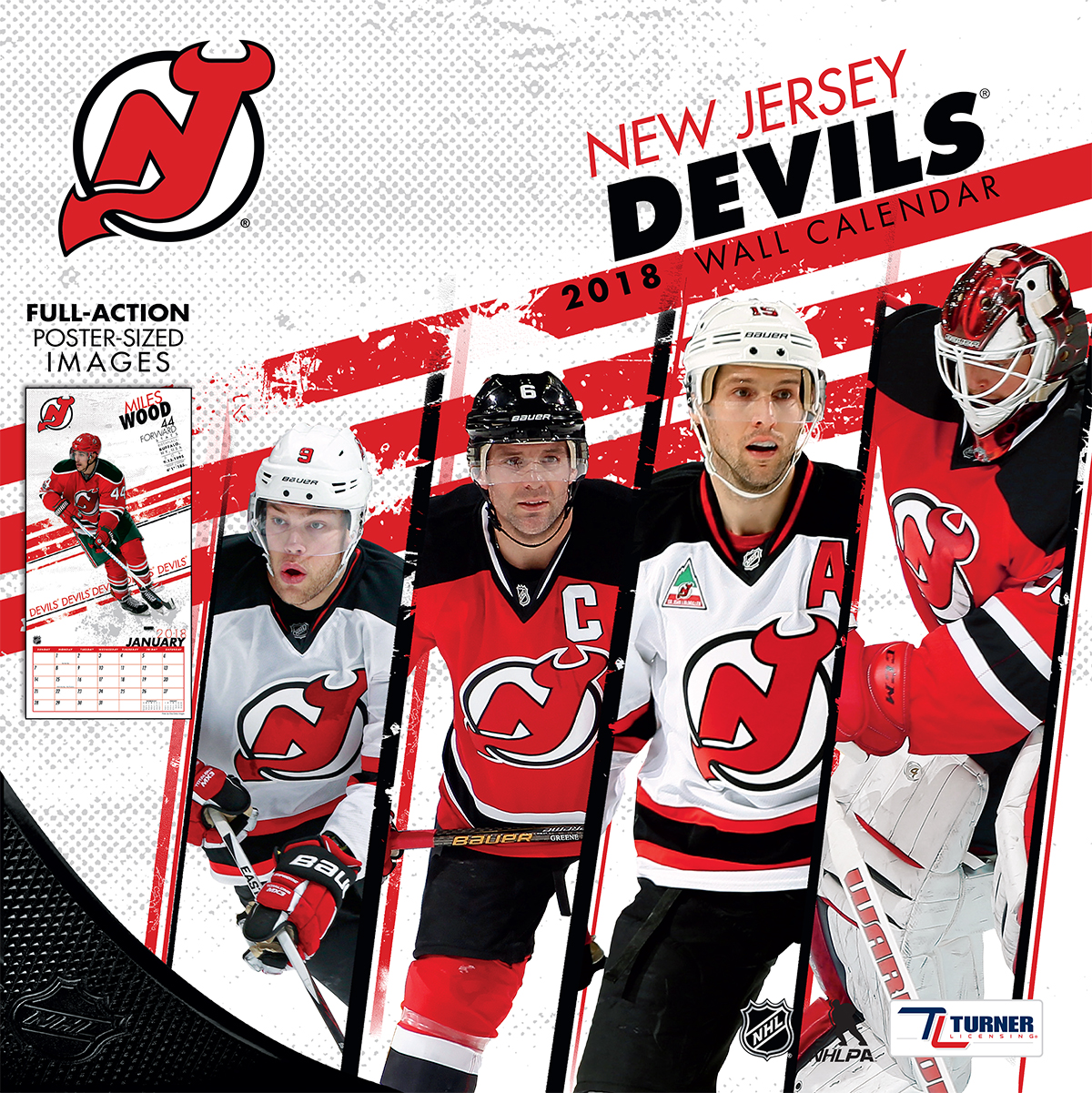 TURNER SPORTS NEW JERSEY DEVILS 2018 12X12 TEAM WALL CALENDAR