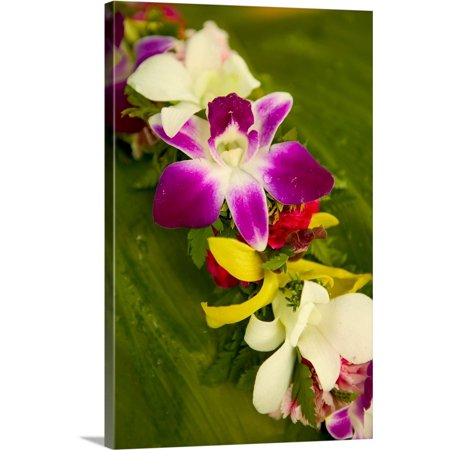 Great BIG Canvas | Dana Edmunds Premium Thick-Wrap Canvas entitled Close-Up Detail Of A Vibrant Colored Lei Made With Tropical Flowers - Leis Flowers