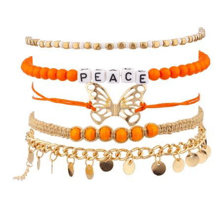 Gypsy Jewlery (Lux Accessories Block Peace Butterfly Gypsy Disc Orange Woven Chain Link Arm Candy Bracelet)