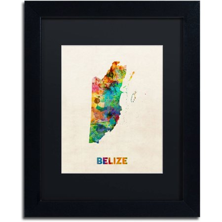 Trademark fine art belize watercolor map canvas art by michael trademark fine art belize watercolor map canvas art by michael tompsett black matte gumiabroncs Gallery