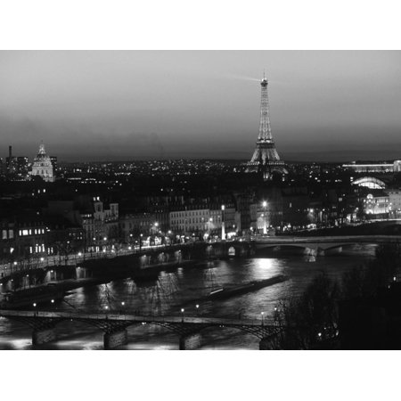 Eiffel Tower and River Seine, Paris, France European Cityscape Black and White Photo Print Wall Art By Walter Bibikow Black And White Photo Art