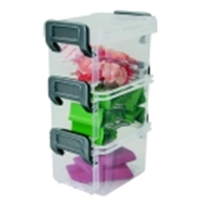 Iris Acid-Free Layered Latch Box With Buckle Snaps, Clear And Silver