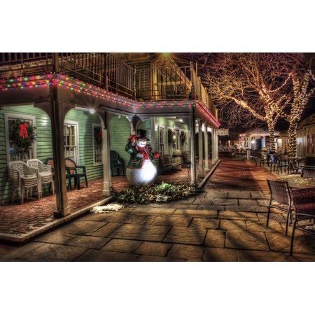 LAMINATED POSTER Town Snowman Christmas Decoration Urban Winter Poster Print 24 x - Town Decoration