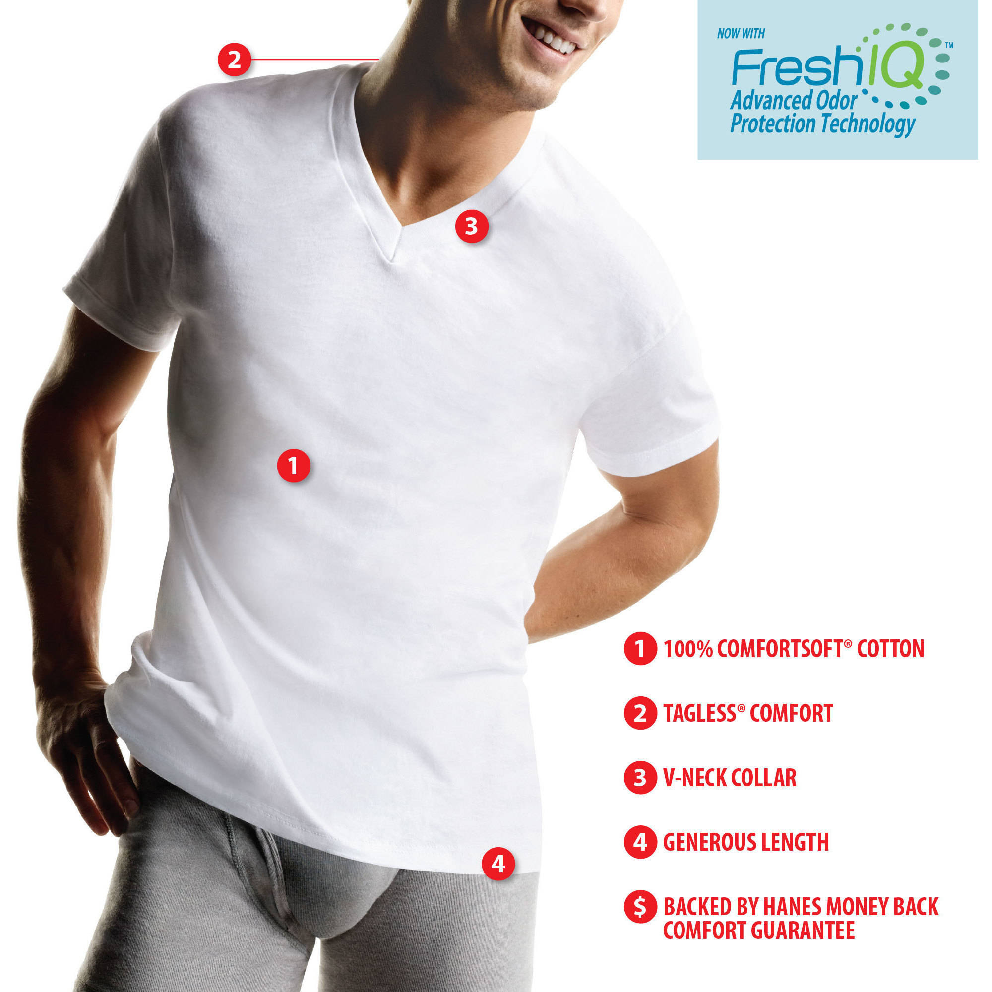 Hanes Men's FreshIQ ComfortSoft White V-Neck T-Shirt 6-Pack ...