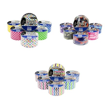 18 Roll Variety Pack Decorative Duct Style Tape (Polka-dot, Chevron, and Colorful Camouflage) by - Colorful Duct Tape