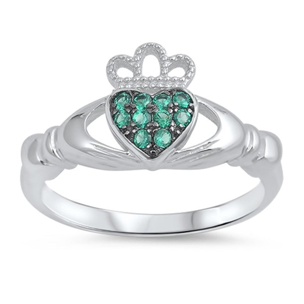 Love of Claddagh Simulated Emerald Cubic Zirconia Ring Sterling Silver 925