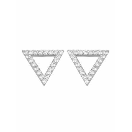 White CZ Sterling Silver Open Triangle Stud Earrings