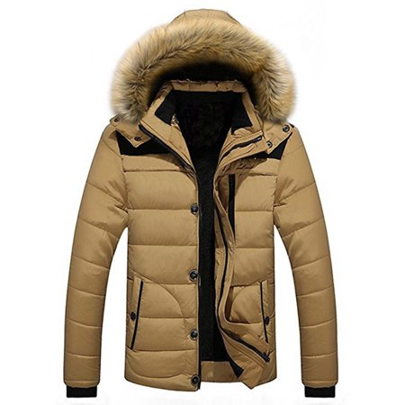 Men's Winter Hooded Warm Coat Winter Parka Jacket With Removable Hoodie ()