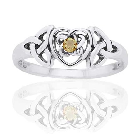 November Birthstone Ring - Sterling Silver Simulated Citrine Glass Celtic Trinity Knot Heart