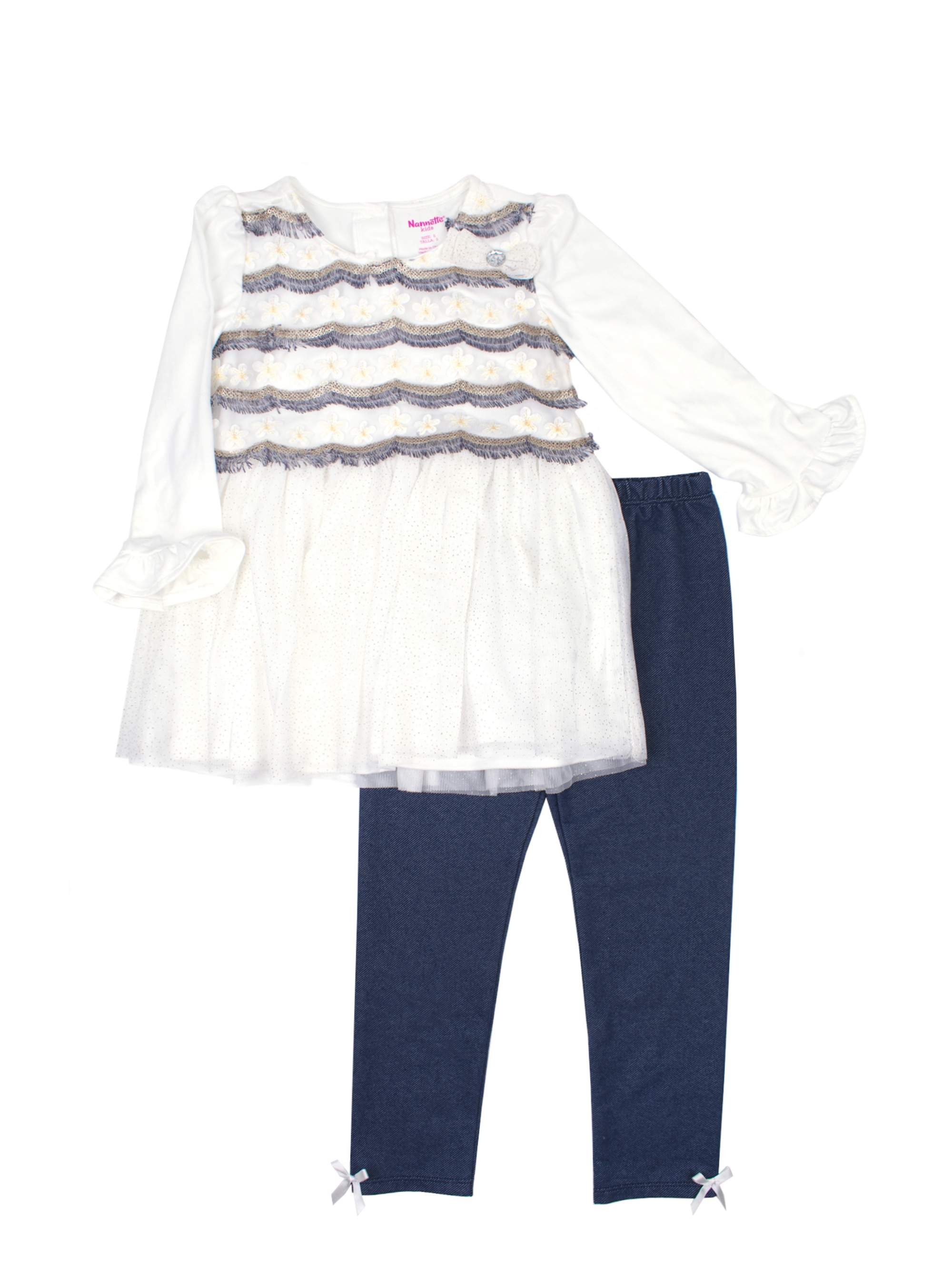 Scallop Mesh Tulle Top and Legging, 2-Piece Outfit Set (Little Girls)
