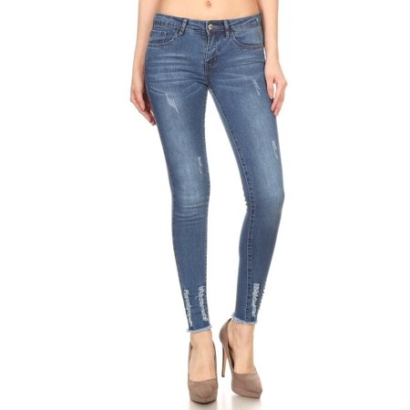 97bc25ec4cb Cali Chic - Juniors' Skinny Jeans Celebrity Distressed Jeans Frayed ...