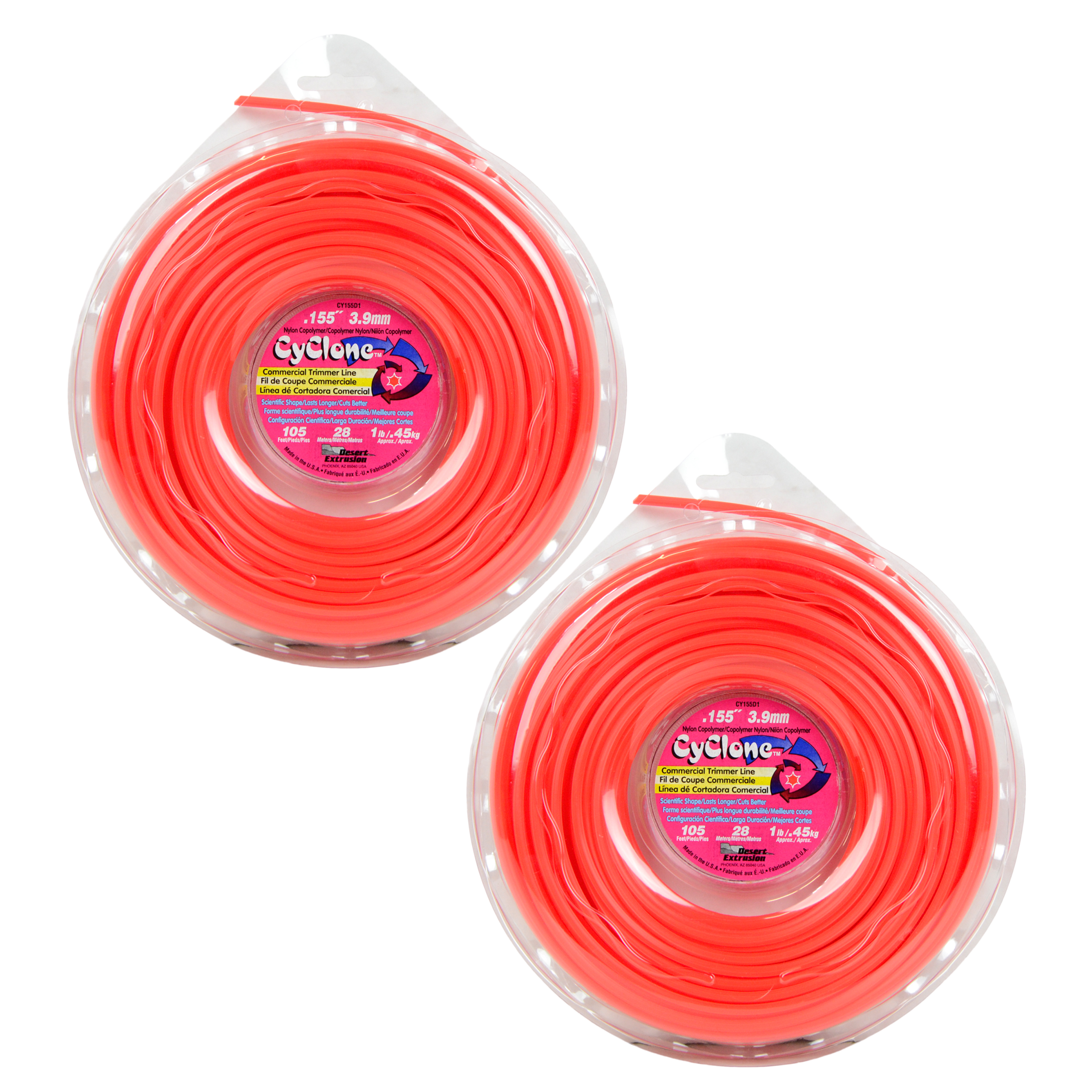 "Cyclone CY155D1 0.155"" x 155' Commercial String Trimmer Line Red (2-Pack), Made in the USA"