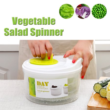 HALLOLURE Green Easy Spin Manual Salad Spinner Lettuce Washer Fruits & Vegetables Dryer with Storage & White Lid Detachable Strainer Kitchen Tool