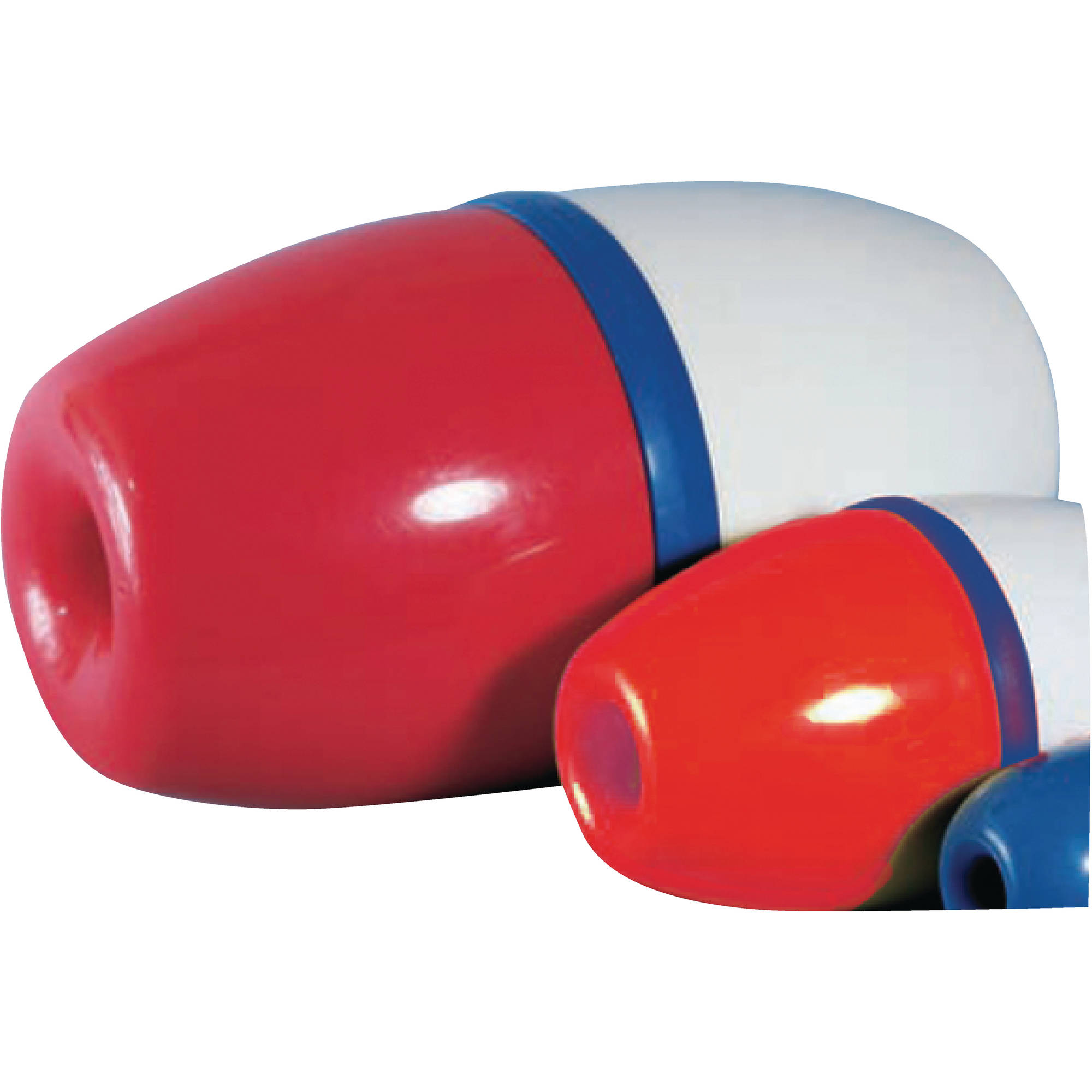 "Jim-Buoy 1502 Lok-On Rope Float, 5"" Dia. x 9""L, Red and White with Blue Center Band"