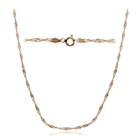 Rose Gold Tone over Silver Italian 2.5mm Diamond-Cut Twist Chain Necklace for Pendants - Gold Tone Twisted Rope