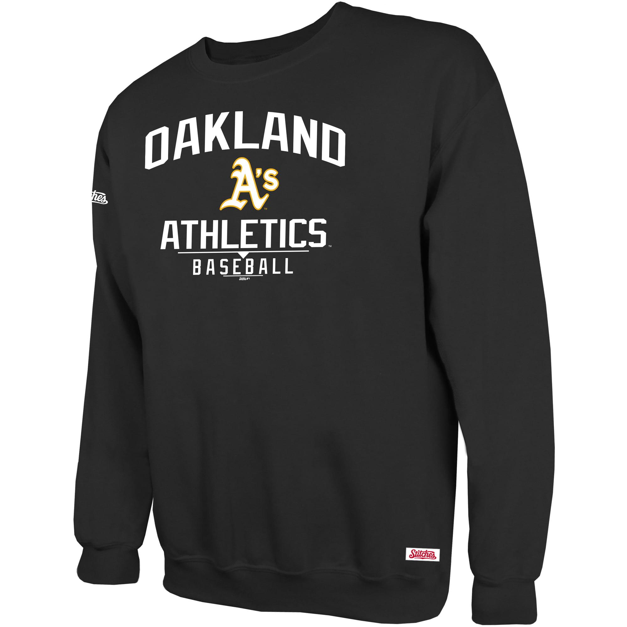 Oakland Athletics Stitches Holiday Pullover Crew Sweatshirt - Black