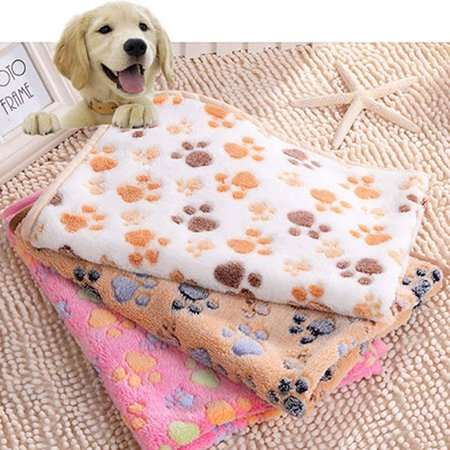 Heepo Cute Pet Small Medium Large Warm Paw Print Dog Puppy Fleece Soft Blanket Bed Mat (Cute Large Dogs)