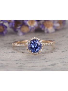 71545256d8b3f8 Product Image Beautiful 1.5 Carat Round cut Real Tanzanite and Diamond  Engagement Ring in 18k Gold Over Silver