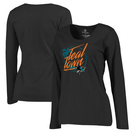 San Jose Sharks Fanatics Branded Women's Plus Sizes Hometown Collection City of Teal Long Sleeve T-Shirt - Black - Party City In San Jose