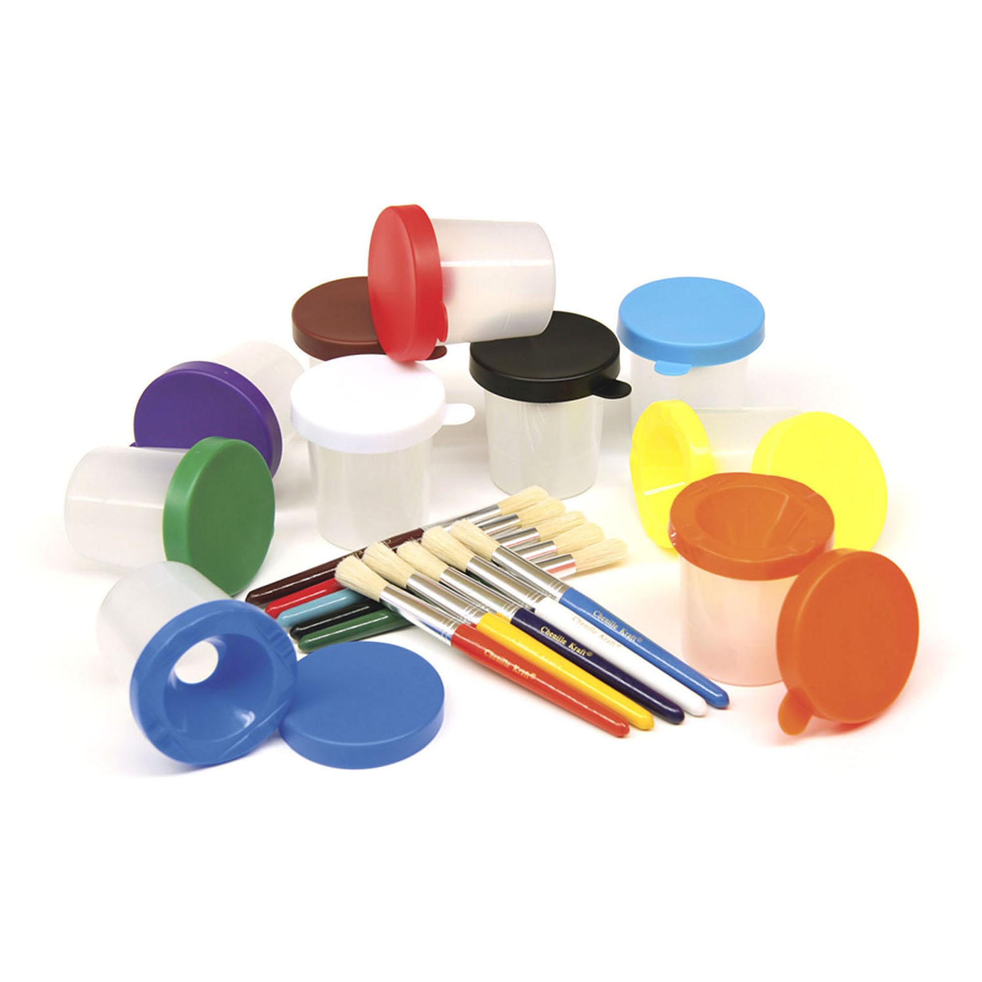 No-Spill Paint Cup Set, Round w/Brushes, 10/pkg