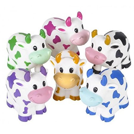 Cow Decor - One Dozen Colorful Rubber Cows 2 Inches Long
