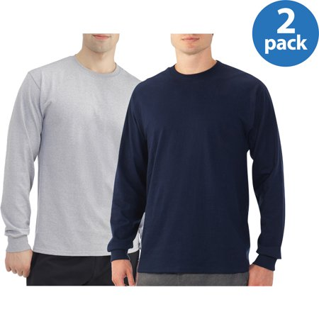 Fruit of the Loom Platinum Eversoft Mens Long Sleeve Crew T-Shirt, 2 Pack Bundle
