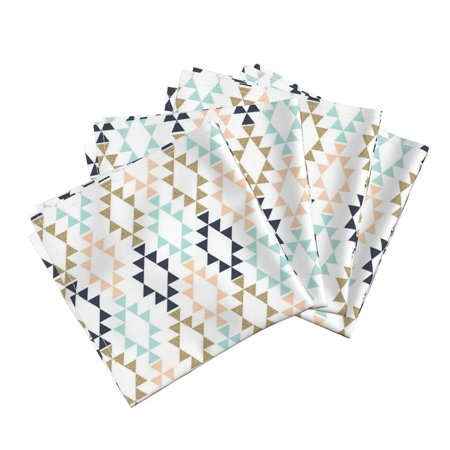 Triangle Home Decor Aztec Gold Cotton Dinner Napkins by Roostery Set of