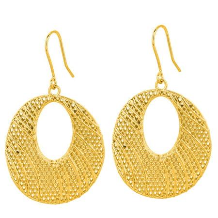 14 Karat Yellow Gold 24x24mm Mesh Dangle Earrings With Fishhook Backs