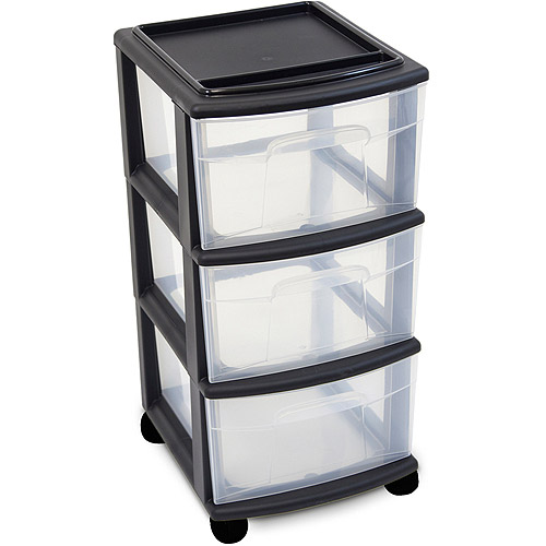 Homz 3-Drawer Medium Cart, Set of 2
