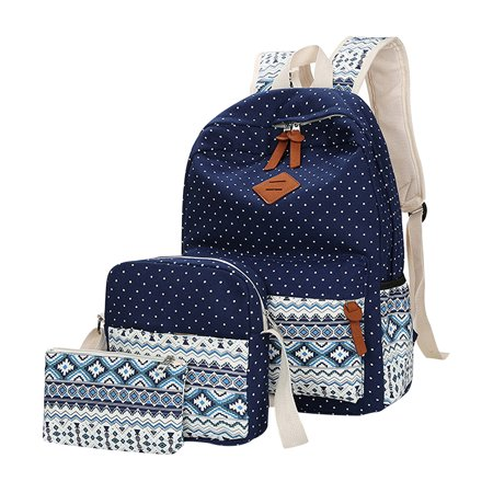 dd71388188de Anyprize 3Pcs/Sets Dark Blue Canvas School Backpacks for Girls, Large  Capity Scatchel Rucksack Backpacks for Middle School, Women's Fashion  Sports and ...