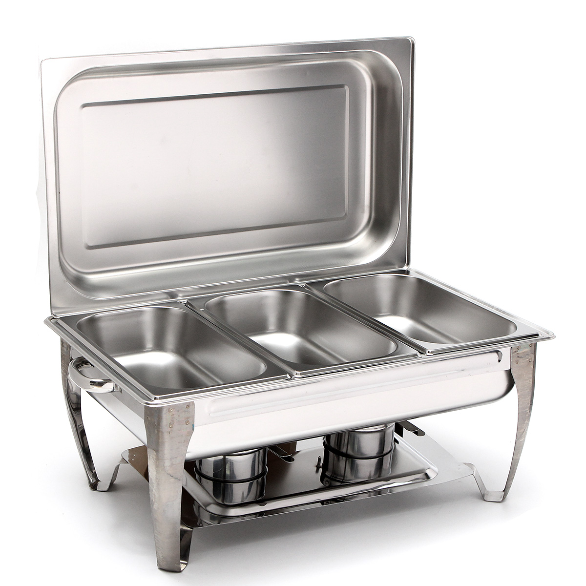 3 Plates 9L Square Buffet Stove Three 2-1 2 Quart Stainless Steel Rectangular Chafing Dish Full Buffet... by