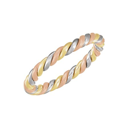14K Tri color Gold Woven Wedding Band Size 5