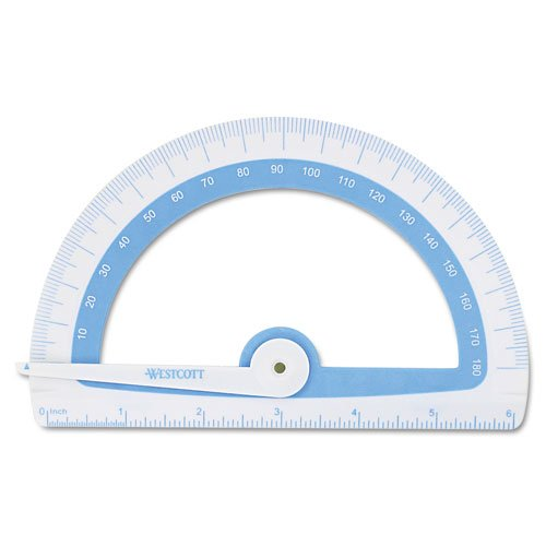 Westcott Soft-Touch School Protractor with Microban Protection, Assorted Colors