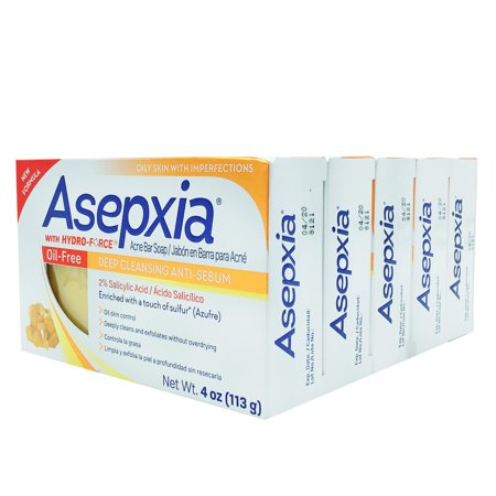 ASEPXIA OIL-FREE ACNE BAR SOAP / DEEP CLEANSING ANTI-SEBUM - 4OZ (PACK OF 5)