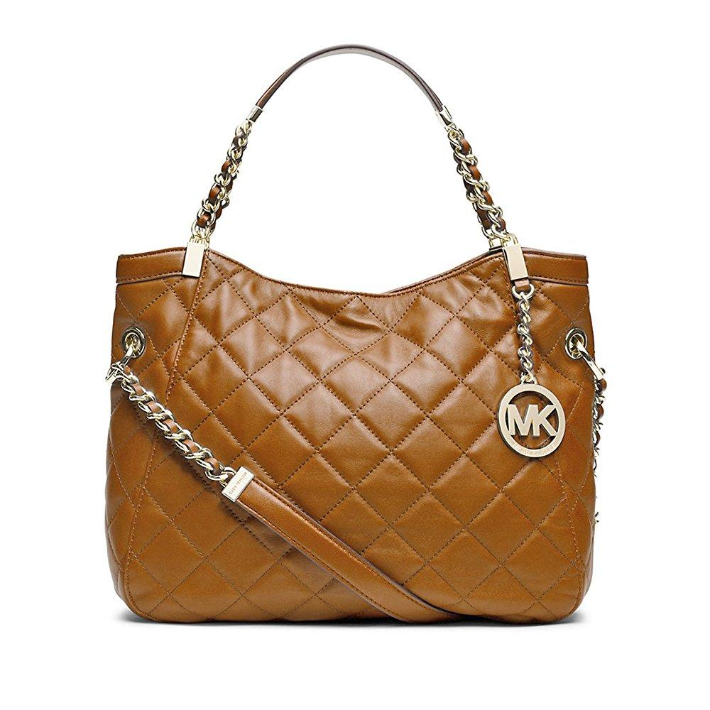 michael michael kors medium susannah quilted shoulder bag, walnut