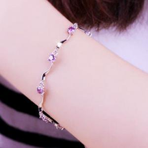 Fancyleo 2019 Bamboo Bracelet White Diamond Temperament Fashion Bracelets New Multilayer Purple Diamond Crystal