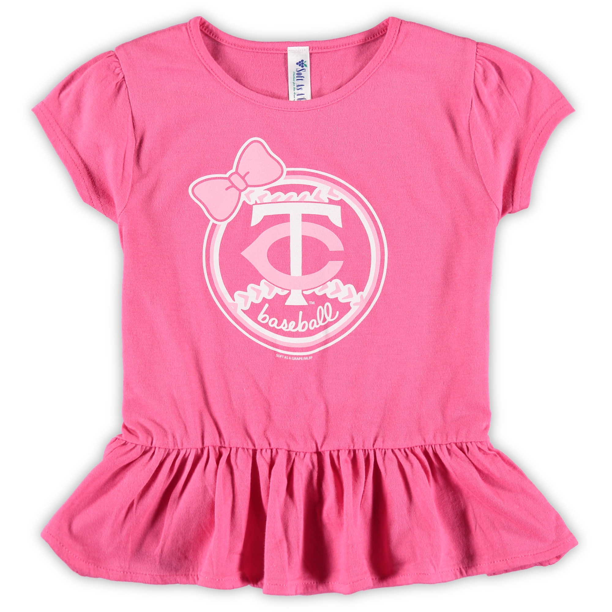 Minnesota Twins Soft as a Grape Girls Toddler Ruffle T-Shirt - Pink