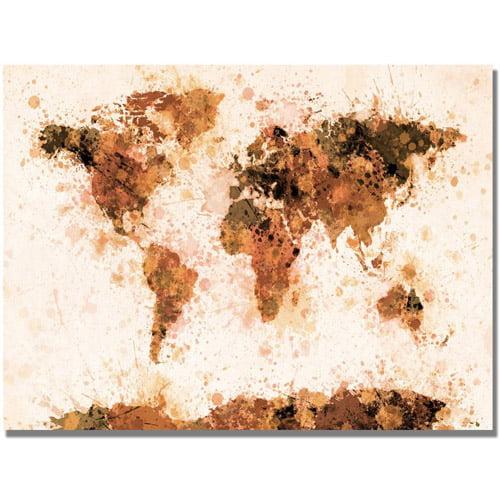 "Michael Tompsett ""Bronze Paint Splash World Map""."