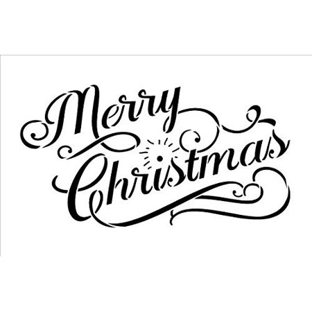 Merry Christmas Stencil by StudioR12 | Elegant Vintage Word Art - Reusable Mylar Template | Painting, Chalk, Mixed Media | Use for Journaling, DIY Home Decor - CHOOSE SIZE (24