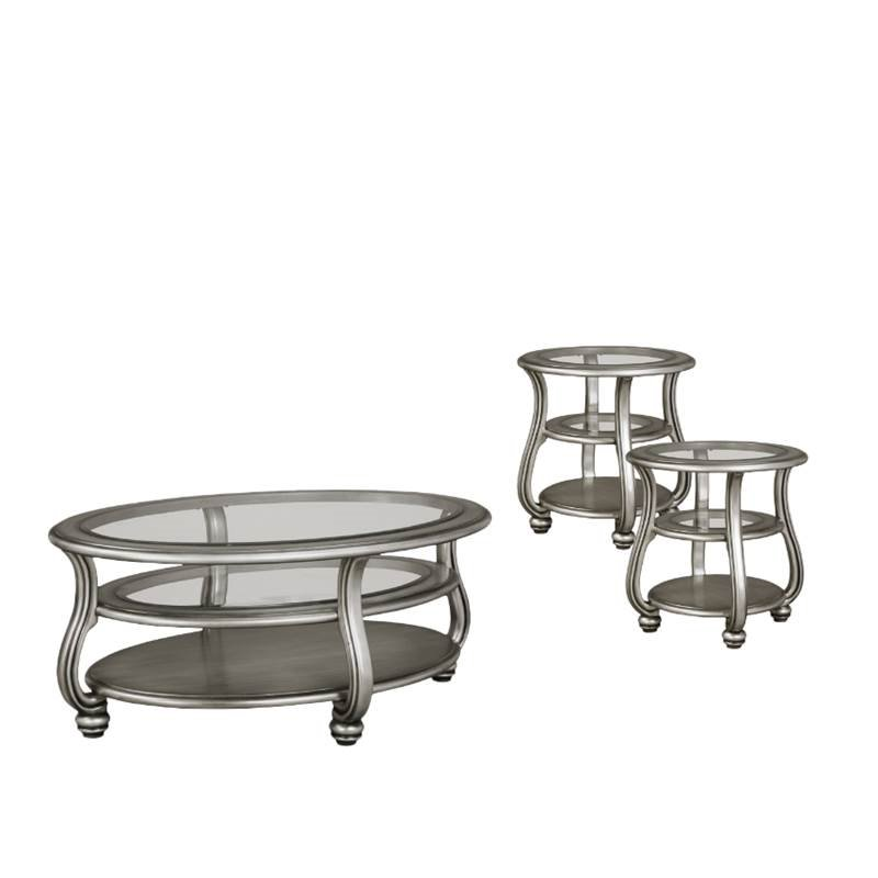 3 piece coffee table set with coffee table and set of 2 end table in silver. Black Bedroom Furniture Sets. Home Design Ideas