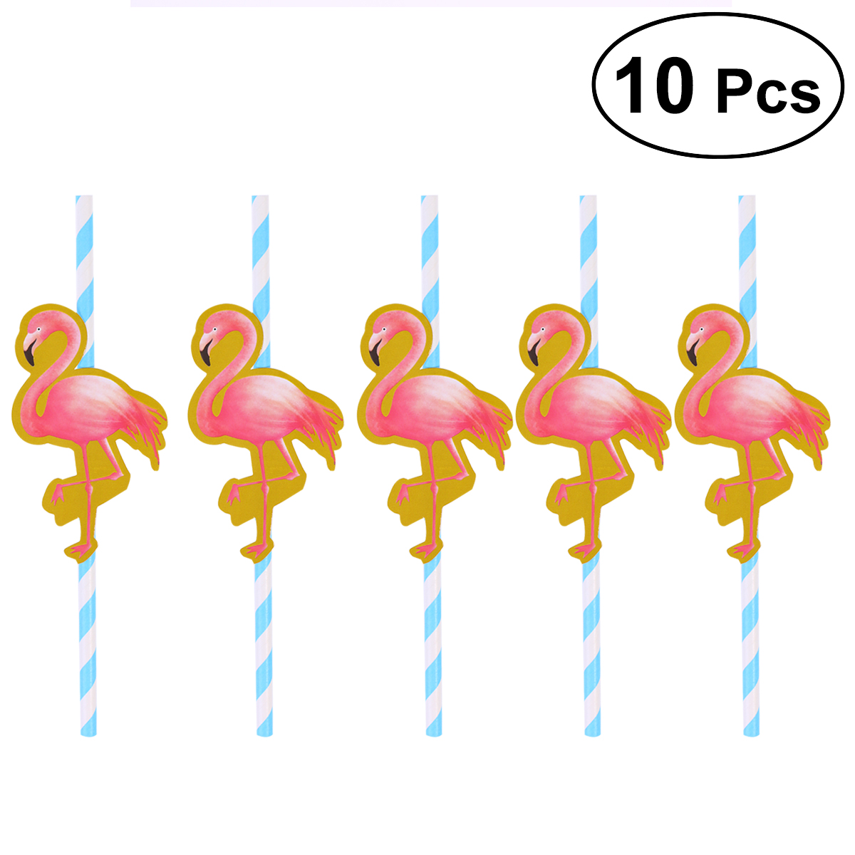 10 Pcs Hawaiian Party Paper Straws Decorative Drinking Straws Luau Party Table Decor BBQ Hawaiian Theme Decoration Flamingo (Blue)