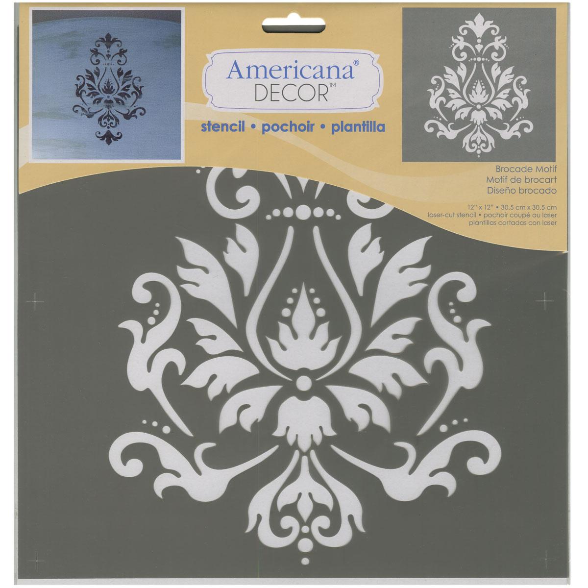 "Americana Decor Stencil 12""X12"" Brocade Motif"