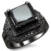 Noori Collection Black Gold 4 ct Certified Princess Black Diamond Engagement Set 14k