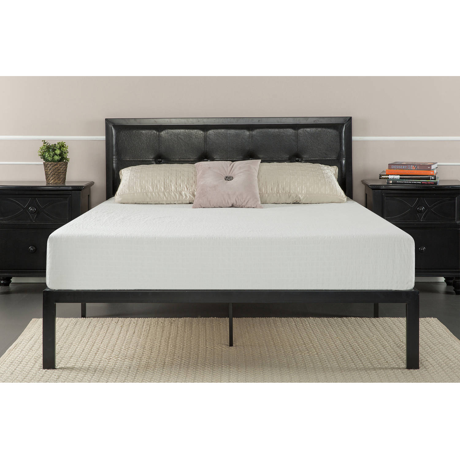 Zinus Faux Leather Classic Platform Bed with Steel Support Slats, Multiple Sizes