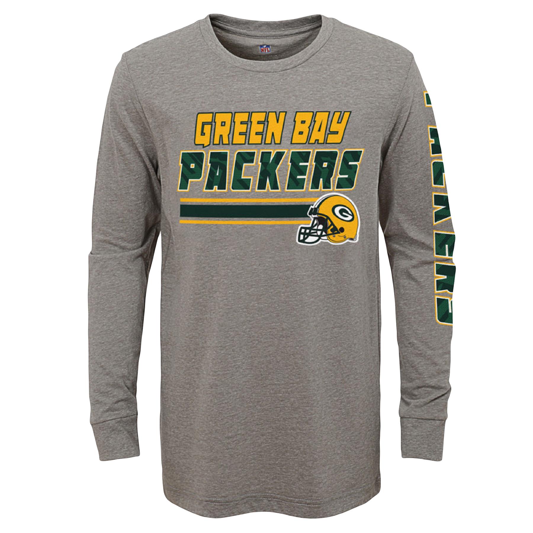 Youth Gray Green Bay Packers Tri-Blend Long Sleeve T-Shirt